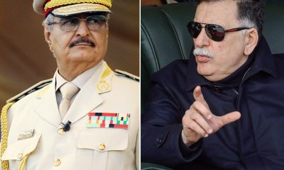 n of file pictures shows Libya's unity government Prime Minister Fayez al-Sarraj (R) and Khalifa Haftar, (L)