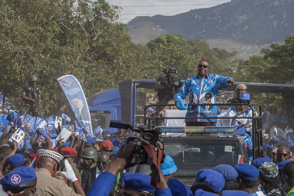 Malawis President Peter Mutharika arrives for his final elections campaign rally