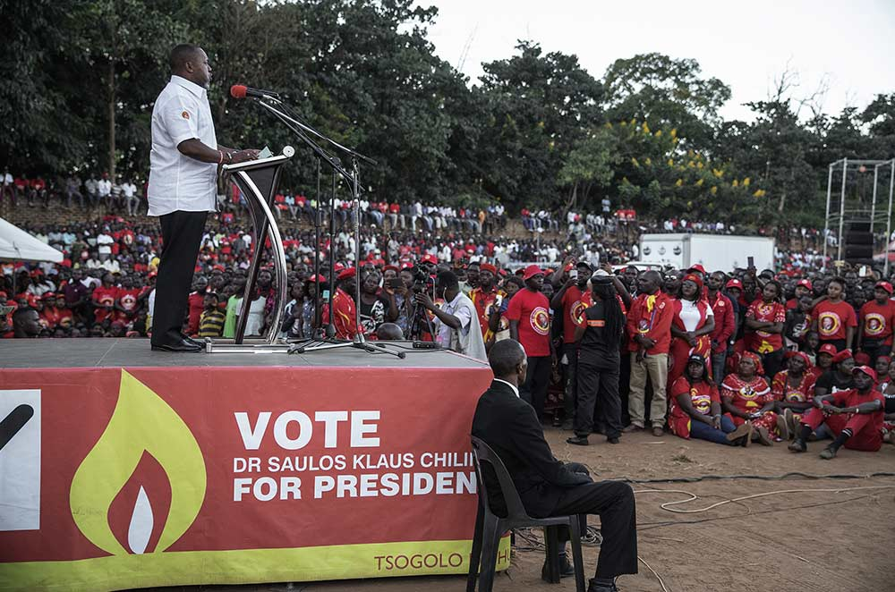 Malawian Vice President and United Transformation Movement presidential candidate Saulos Chilima addresses a crowd of supporters