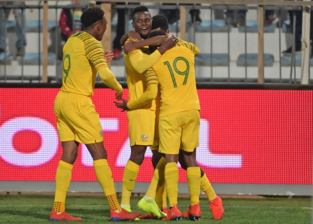 South Africa's forward Percy Tau (R) celebrates his goal during the 2019 AFCON Group E qualifier