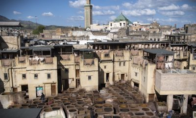 A view of the tannery in the 9th century walled Medina in the ancient Moroccan city of Fez