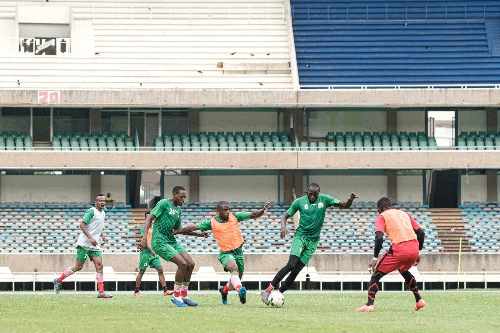 Kenyan national football players attend their training session in preparation for the 2019 Africa Cup of Nations (AFCON)