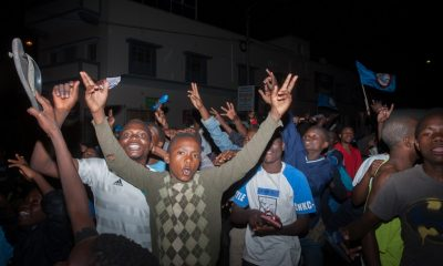 Supporters of Malawi's ruling Democratic Progressive Party (DPP) celebrate in the streets