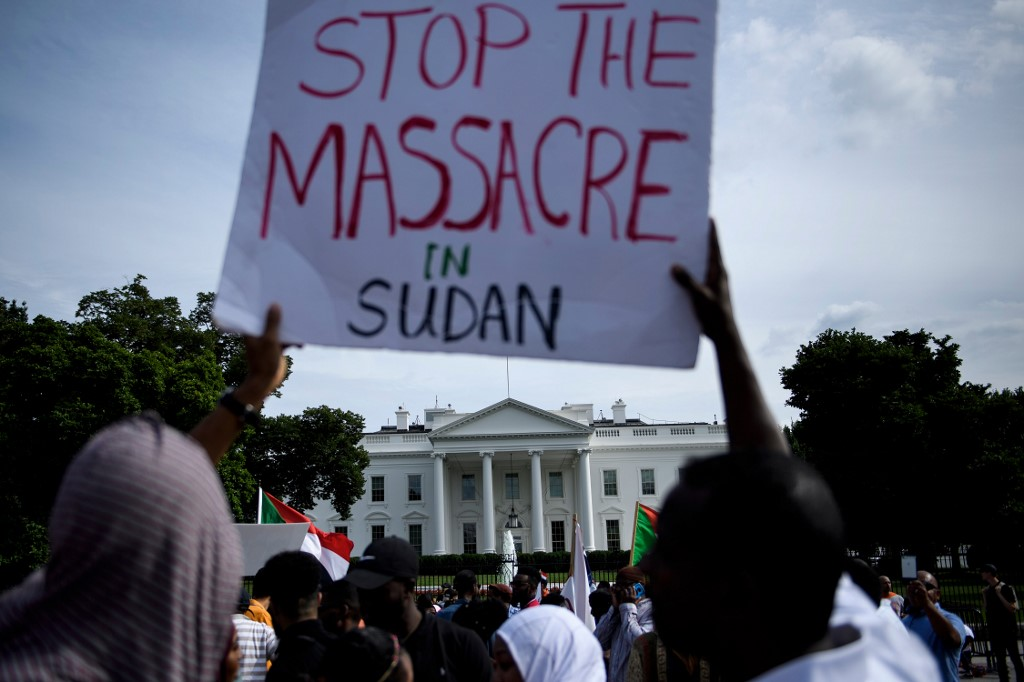 Civil Disobedience: People protest against Monday's deadly military raid on a nonviolent sit-in in Khartoum, Sudan,