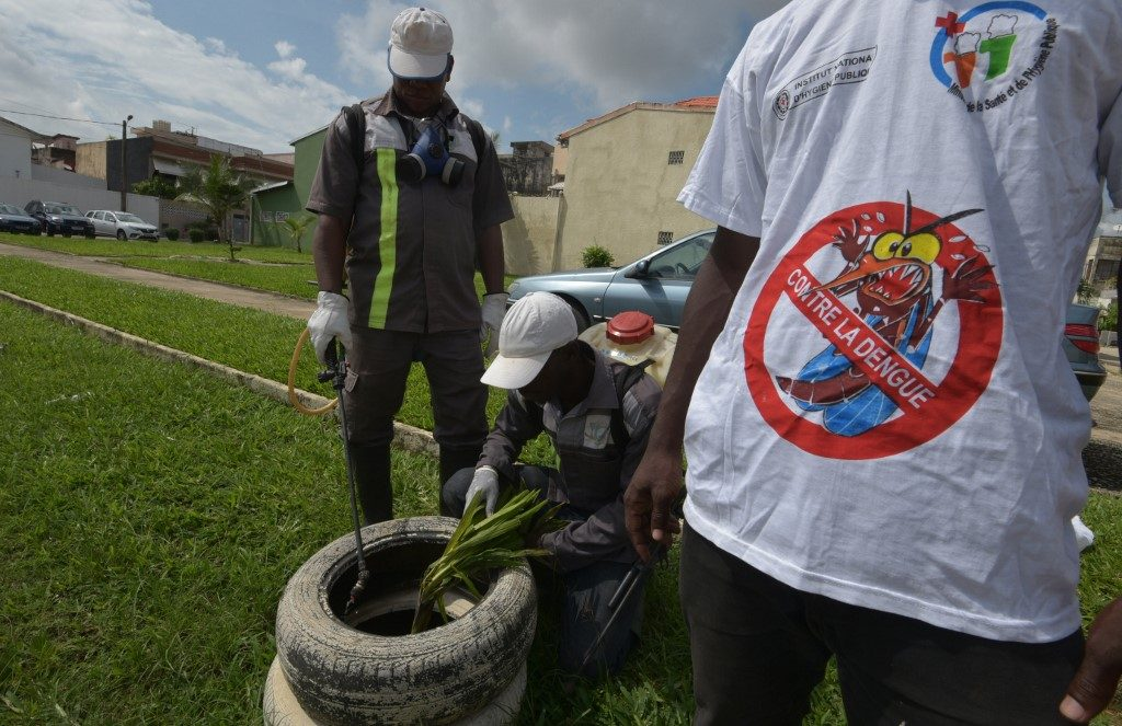National institute for public hygiene (INHP) are at work to fumigate an area as part of efforts to fight Dengue in Ivory Coast