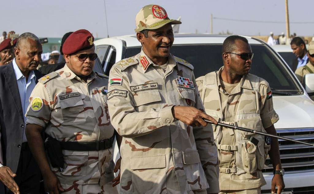 Mohamed Hamdan Dagalo (C), also known as Himediti, deputy head of Sudan's ruling Transitional Military Council (TMC)