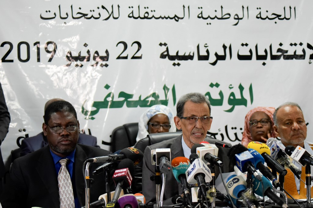 Mohamed Vall Ould Bellal, president of the Independent National Electoral Commission, attends a press conference