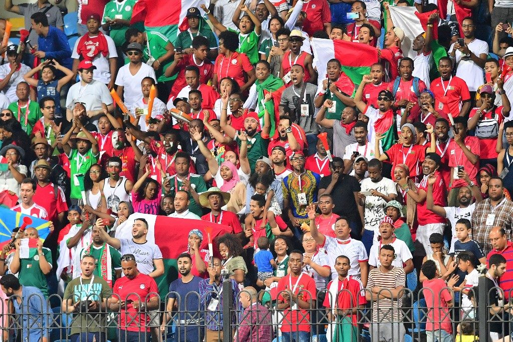 Madagascar supporters celebrate as the Islanders stun Nigeria 2-0 at the AFCONs