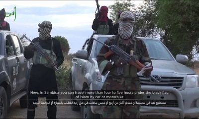 A grab taken from a video posted on YouTube by Boko Haram depicting a Boko Haram attack that kills 8 in Chad