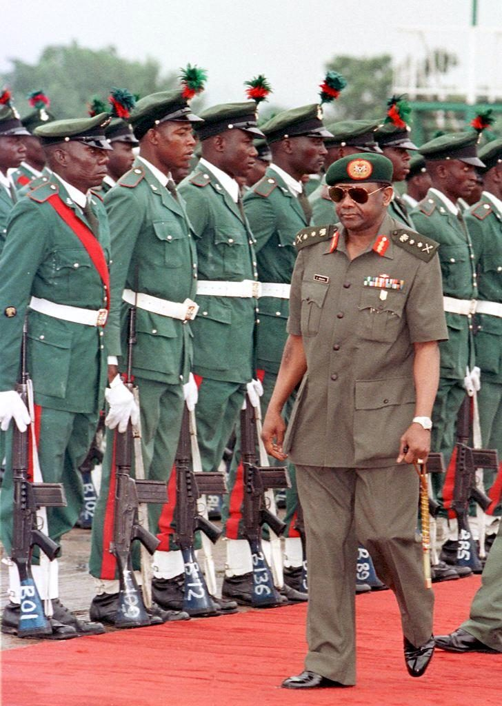 Then Nigerian President General Sani Abacha at the airport of Abuja.