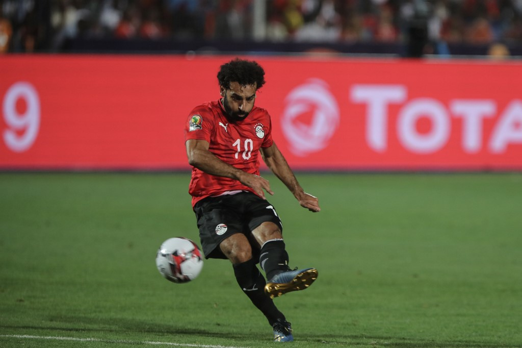 Egypt's Mohamed Salah takes on a free kick during the 2019 as Egypts qualified for the next round