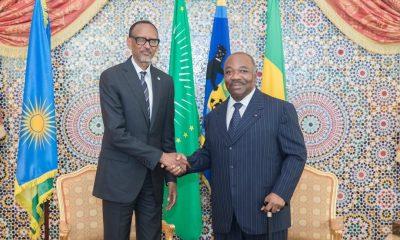 Rwandan president, Paul Kagame meets Ali Bongo in Gabon