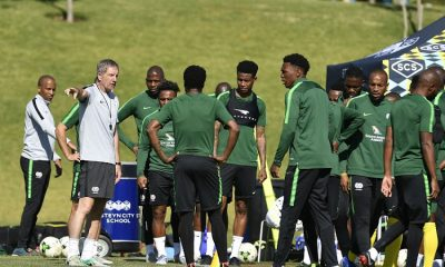 South Africa head coach Stuart Baxter speaks to the players during the South Africa Squad training session at Steyn City School.