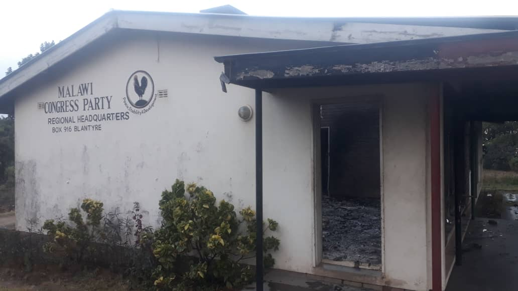 Malawi's opposition party headquarters burnt down in Blantyre
