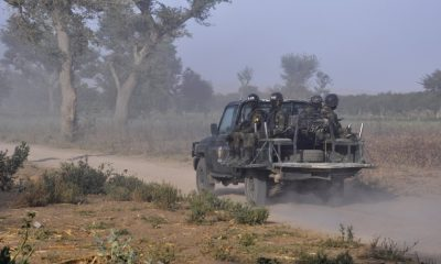 Cameroonian Rapid Intervention Force patrol on the outskirt of Mosogo