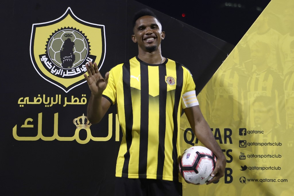 Cameroonian forward Samuel Eto'o attends his presentation after signing a one year contract to play for Qatar Sports Club