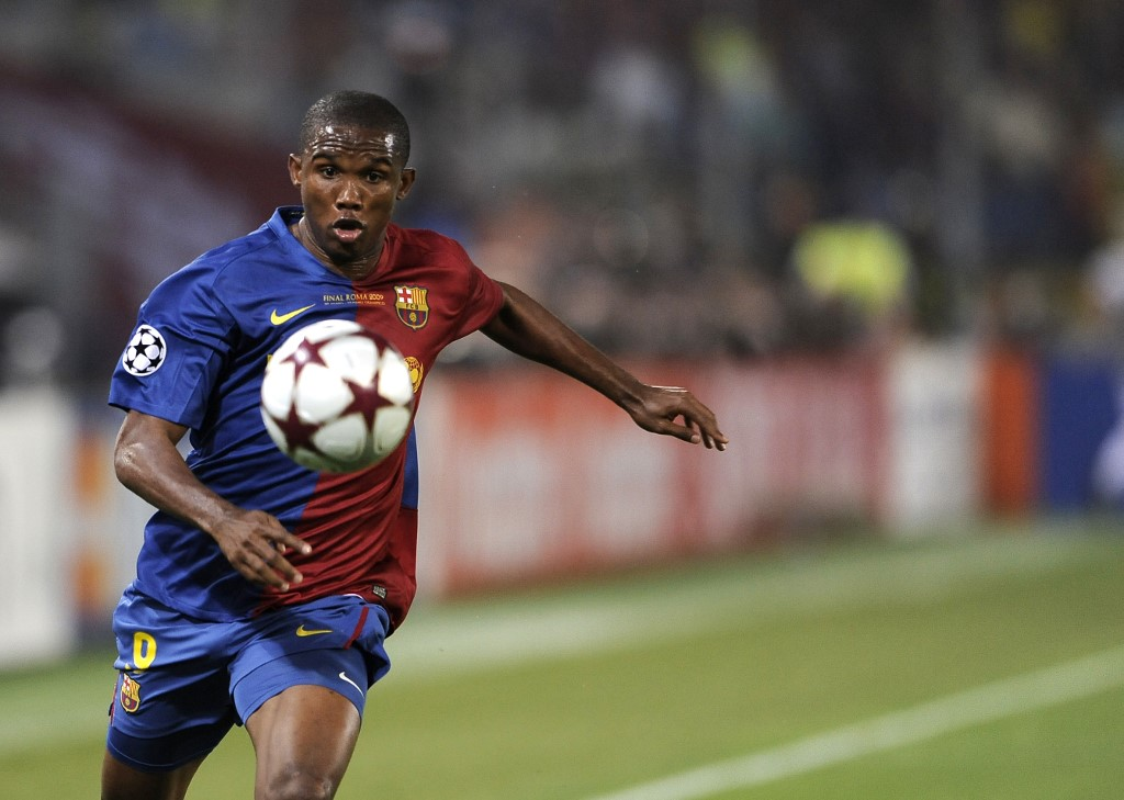 In this file photo taken on May 27, 2009 Barcelona's Samuel Eto'o runs with the ball during the UEFA football Champions League final