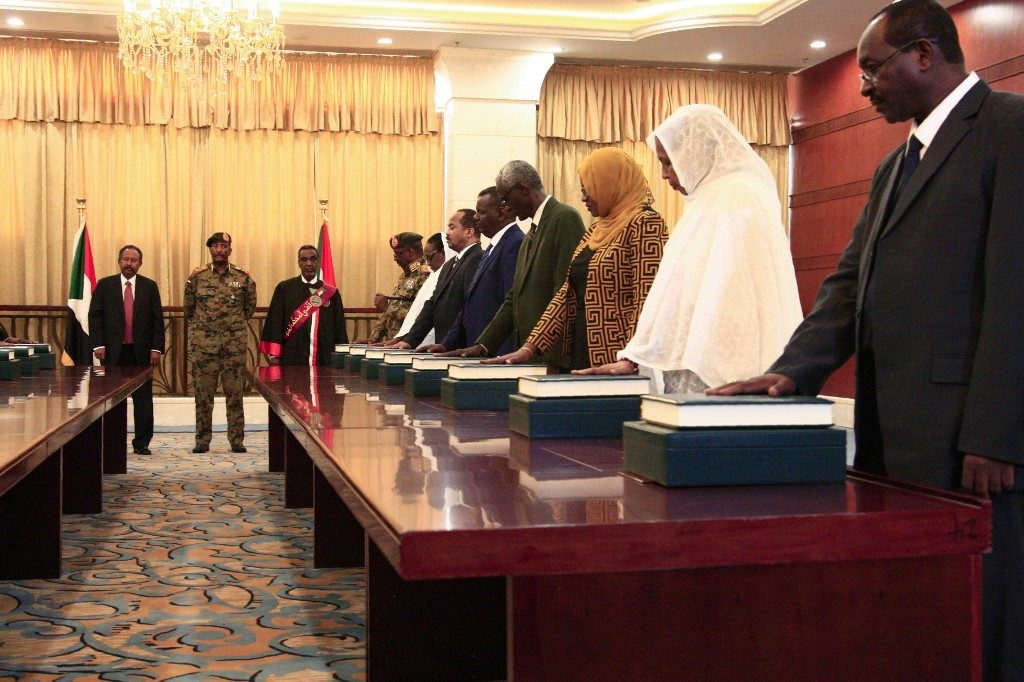 a section of Members of the Sudanese cabinet take oath