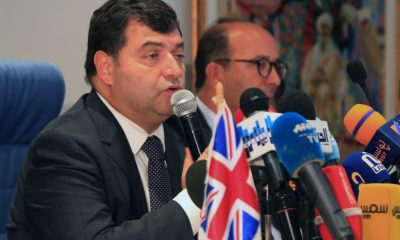 Tunisian Tourism Minister Rene Trabelsi (L) gives a press conference in the capital Tunis on September 24, 2019, in the wake of the British travel group Thomas Cook's bankruptcy crisis.