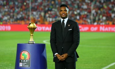 Cameroonian former footballer Samuel Eto'o holds the Africa Cup of Nations trophy