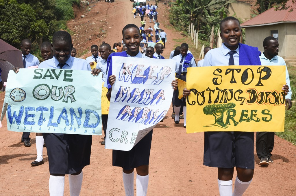 Ugandan children boycott school to hold climate change demonstration