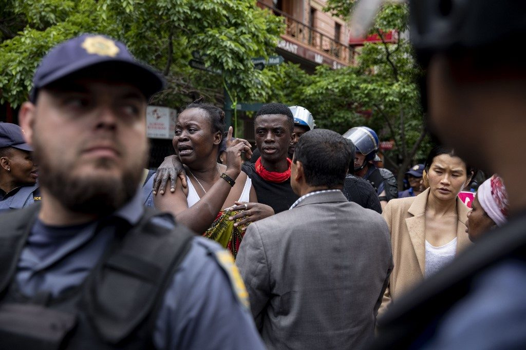 Police eviction of the refugees and asylum seekers protesting in front of the UNHCR offices in Cape Town, South Africa. October 30th 2019
