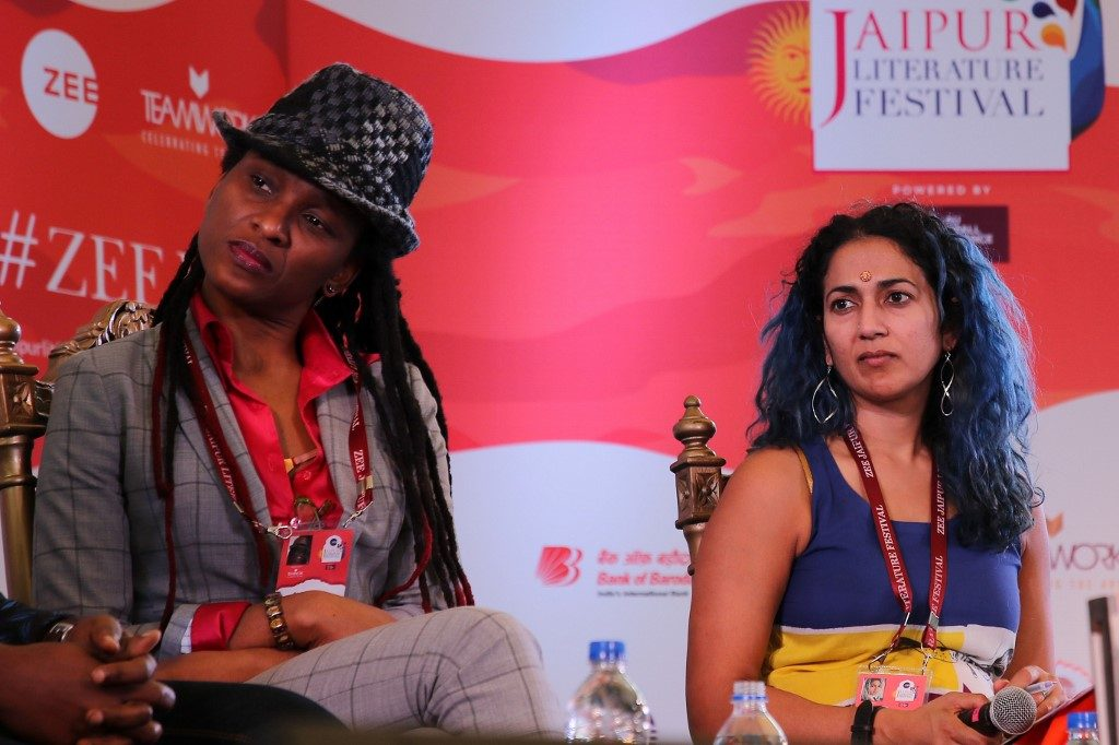 Writer Chika Unigwe during the Jaipur Literature Festival 2018 at Diggi Palac