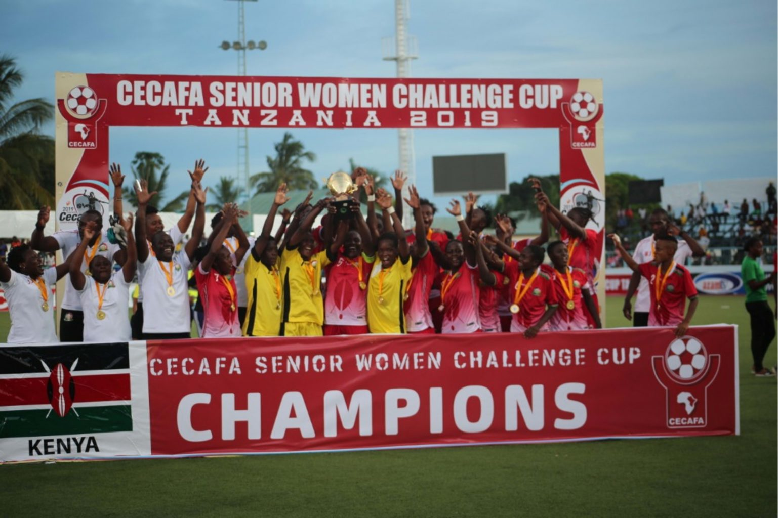 Kenya have defeated hosts Tanzania 2-0 to win the 2019 CECAFA Senior Women's Challenge Cup. Striker Jentrix Shikangwa came off the bench in the second half to score a brace to guide Kenya to victory. Both teams had gone into the final unbeaten and without conceding a goal. The defeat left Tanzanian fans disappointed after their side had won the previous two Cecafa Women's titles in 2016 and 2018. Earlier Uganda beat Burundi 2-0 to win the third-place play-off thank to goals from substitutes Shamira Nalujja and Amina Nababi. Kenya's Shikangwa won the top scorers' award with 10 goals, while the Golden Glove Award went to Kenyan goalkeeper Annedy Kundu who did not concede a single goal in the whole tournament. Tanzania's Omary Mwanahamisi was voted Most Valuable Player and Tanzania bagged the Fair Play Award.