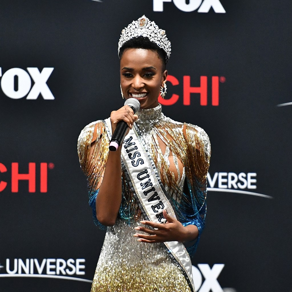 Miss Universe 2019 Zozibini Tunzi, of South Africa, appears at a press conference following the 2019 Miss Universe Pageant at Tyler Perry Studios on December 08, 2019.