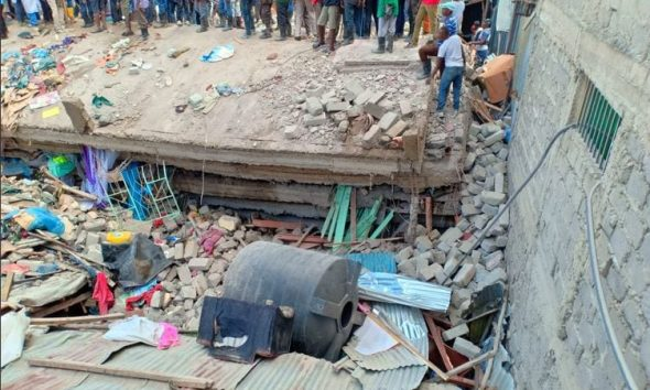 Collapsed residential building in Tassia