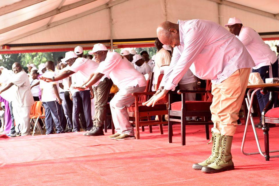 Uganda's Yoweri Museveni leads walk against corruption in his government