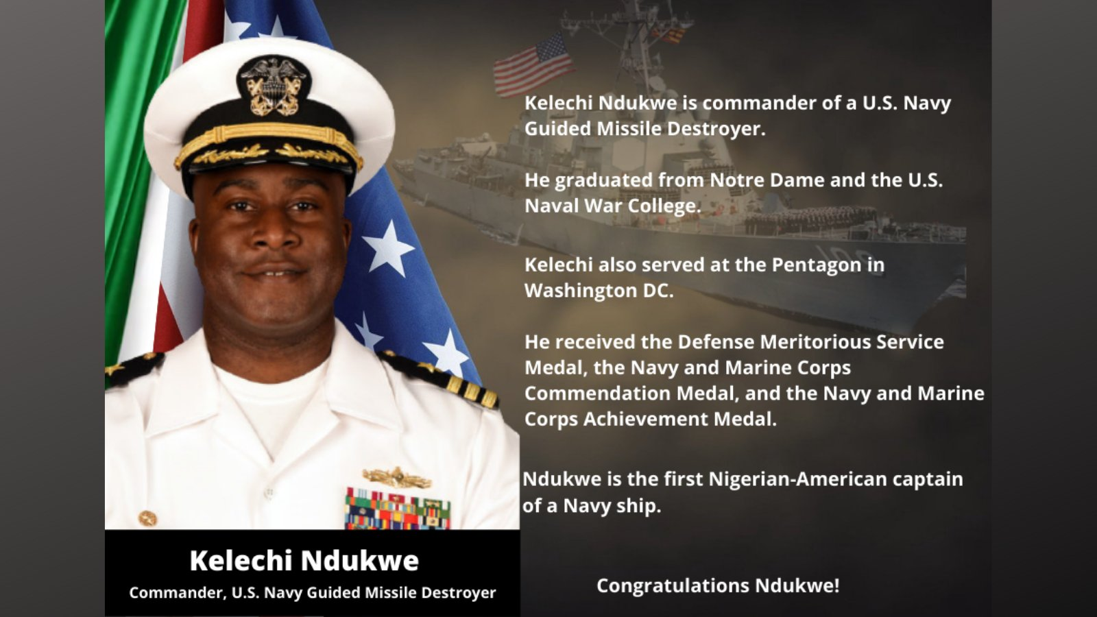 Kelechi Ndukwe Appointed First Nigerian-American Captain Of U.S. Navy Ship