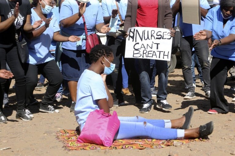 Harare City Council Nurses Protesting